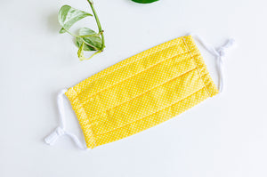Face mask Yellow with Small White DOts