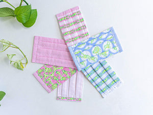Six face masks of 2 Pink Stripes and 4 Frogs prints
