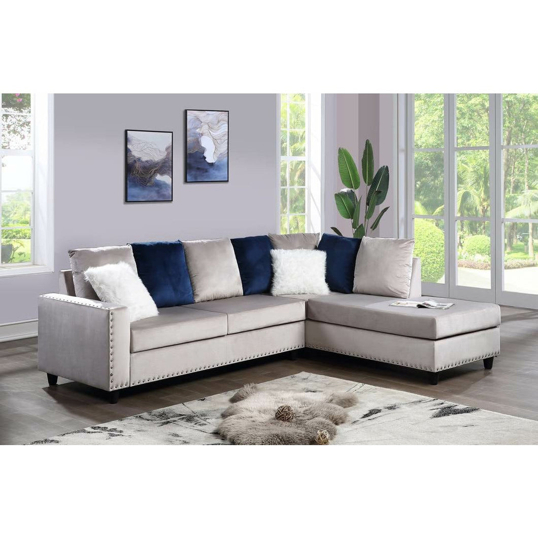 Cindy Silver Sectional - Unique Furniture