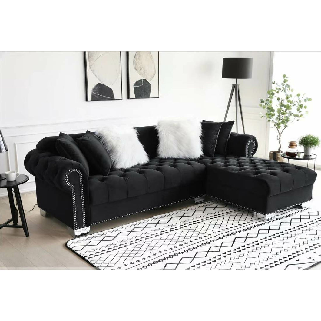 Royal Black Sectional - Unique Furniture