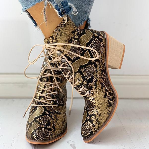 Vidiashoes Pointed Toe Lace-up Snakeskin Chunky Heeled Boots