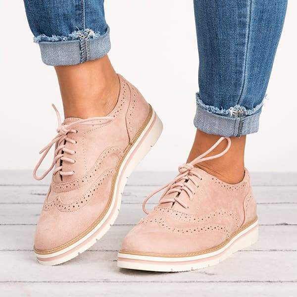 Vidiashoes  Lace Up Perforated Oxfords Shoes