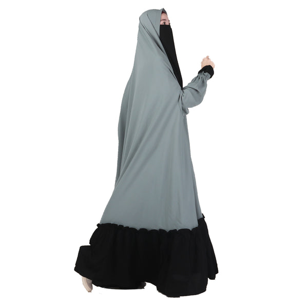 Humaira Floor Khimar Teal Green