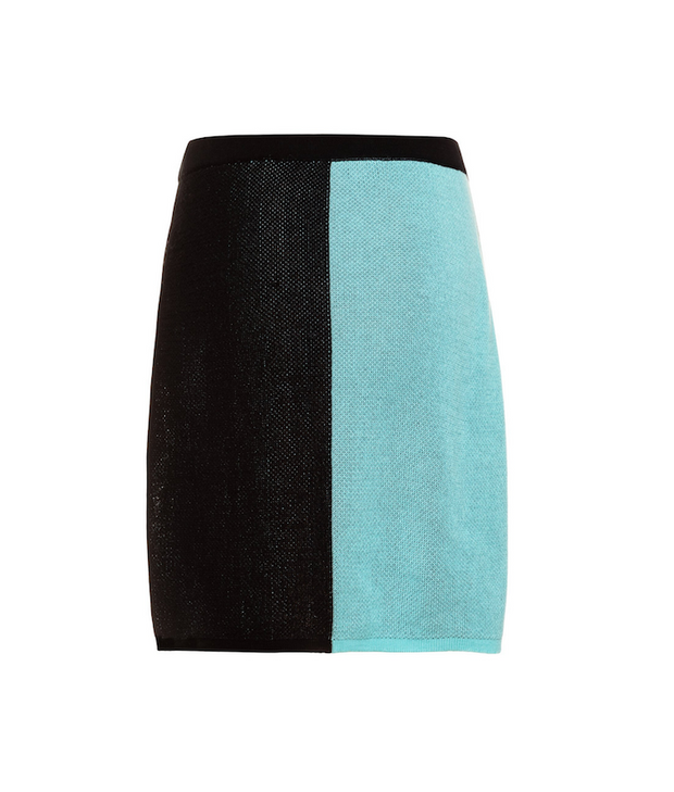 TINA HARF LONDON | Lisa Skirt | Knee Length | Black & Turquoise - The Guestlist
