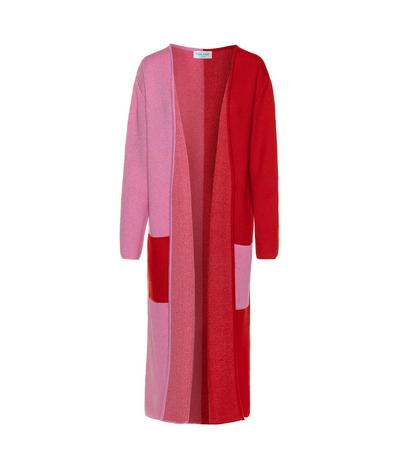 TINA HARF LONDON | Pia Cashmere Cardigan | Maxi | Red & Pink - The Guestlist