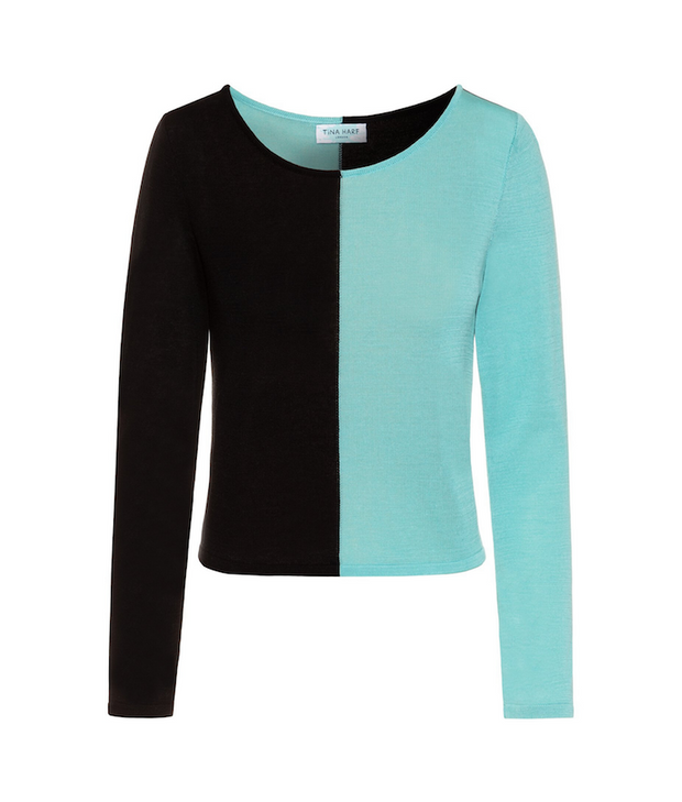 TINA HARF LONDON | Top Tara | Black & Turquoise - The Guestlist