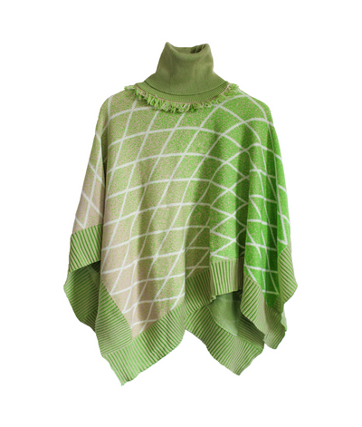Turtleneck Poncho | Green Cape THE GUESTLIST