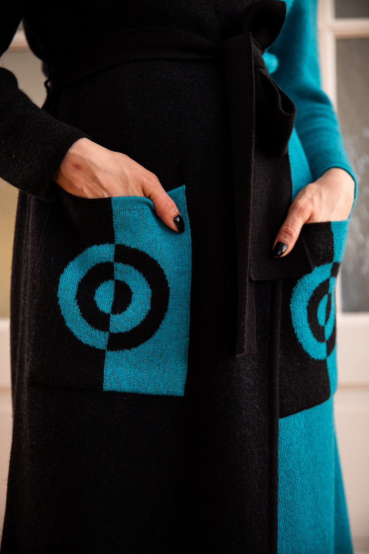 "Pia Cashmere ""Target"" Maxi Cardigan 