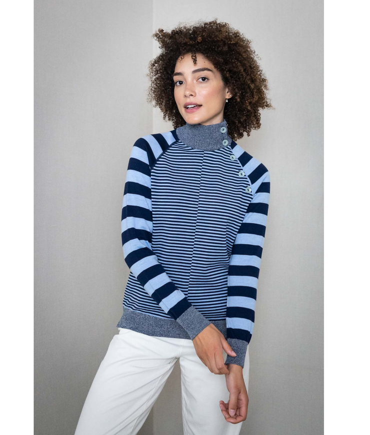 THE GUESTLIST by SAM SLEGERS | Stripy Stripe Sweater | Blue - The Guestlist
