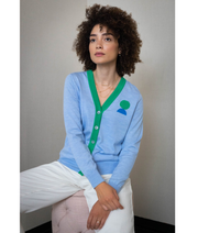Moony Contrast Cardigan | Blue Cardigan THE GUESTLIST