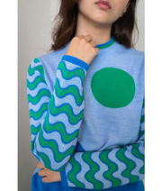 THE GUESTLIST by SAM SLEGERS | Sunny Wave Sweater | Blue - The Guestlist