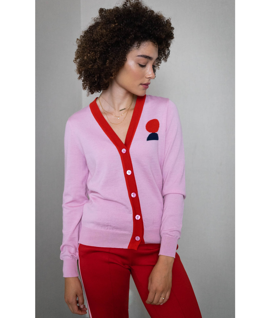THE GUESTLIST by SAM SLEGERS | Moony Contrast Cardigan | Pink - The Guestlist