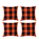 Volcanics Buffalo Check Plaid Throw Pillow Covers Set of 2 Farmhouse Decorative Square Pillow Cover Case Cushion Pillowcase 18x18 Inches for Home Decor Sofa Bedroom, Beige and White