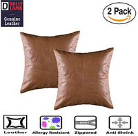DOLLY LAMB 100% Lambskin Leather Pillow Cover - Sofa Cushion Case - Decorative Throw Covers for Living Room & Bedroom - 18x18 Inches - Antique Brown Pack of 1