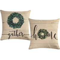 ULOVE LOVE YOURSELF Farmhouse Decor Throw Pillow Covers Home Gather Olive Branch Decorative Cushion Covers Pillowcases 18×18 Inches for Sofa Couch Porch