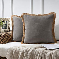 Phantoscope Farmhouse Decorative Throw Pillow Covers Linen Tassel Trimmed Fall Outdoor Pillow Decor Off White, Pack of 2 18 x 18 inches, 45 x 45 cm