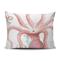 ONGING Decorative Pillowcases Navy Nautical Octopus Customizable Cushion Rectangle Boudoir Size 12x18 inch Throw Pillow Cover Case Hidden Zipper One Side Design Printed