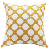SLOW COW Cotton Embroidery Pattern Cushion Cover Chains Decor Accent Throw Pillow Cover 18x18 Inch Yellow