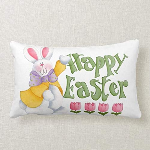 Pattebom Happy Easter Rectangle Pillow Covers 12X20 Lumbar Cushion Covers Decorative for Sofa Couch Easter Gifts for Teen Girls