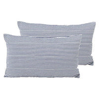 "Shamrockers Farmhouse Striped Throw Pillow Cover Decorative Cotton Linen Ticking Stripe Cushion Pillowcase (18""x18"", Black, Pack of 2)"