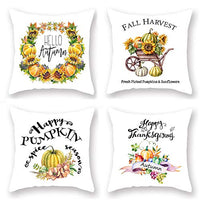 "KACOPOL Rustic Farmhouse Quote Pillow Covers Farmhouse Decorative Cotton Linen Throw Pillow Case Cushion Cover with Words 18"" x 18"" Set of 4 Farm Sweet Farm, Faith Family Farm, Gather Together."