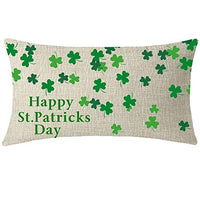 NIDITW Nice Gift Happy St Patricks Day Irish Blessing Falling Green Shamrocks Clover Lumbar Cotton Burlap Linen Throw Pillow Cover Pillow Case Sofa Decorative Rectangle Oblong 12x20 Inches