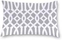 "wonbye Chic Modern Light Gray and White Imperial Trellis Lumbar Throw Pillow Covers Case Cushion Pillowcase with Hidden Zipper Closure for Sofa Bench Bed Home Decor 12""X16"""