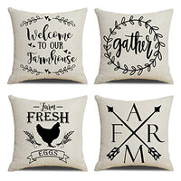 "KACOPOL Rustic Farmhouse Quote Pillow Covers Farmhouse Decorative Cotton Linen Throw Pillow Case Cushion Cover with Words 18"" x 18"" Set of 4 Welcome to Our Farmhouse, Farm with Arrow, Gather, Rooster"