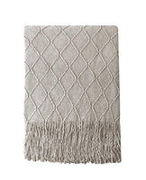 "BOURINA Beige Throw Blanket Textured Solid Soft Sofa Couch Cover Decorative Knitted Blanket, 50"" x 60"", Beige"