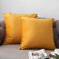 DEZENE Throw Pillow Covers with Pom-poms, 2 Pack Super Soft Velvet Decorative Pillow Cases, Luxury Accent Rectangular Pillowcases, Square Cushion Covers for Farmhouse,Couch,Sofa, 18x18 Inch, Cream