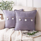 Phantoscope Pack of 2 Natural Shell Triple Button Throw Pillow Covers Farmhouse Luxury Vintage Hand Embroidery White Thread Trimmed Decorative Pillowcases Navy Blue, 18 x 18 inches, 45 x 45 cm