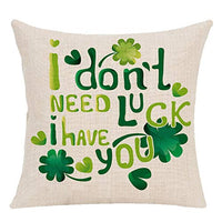 Vovotrade St. Patricks Day Green Home Decor Throw Pillow Case Cushion Cover 18 x 18'' Flax(Saint Patricks Lucky Clove)