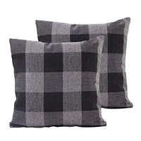 TEALP Buffalo Check Throw Pillow Cover Linen Cotton Decorative Pillow Case Home Sofa Cushion Set,2-Pack Square Design (18x18 inch),Black and White