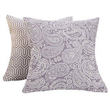 SUNSHINE FASHION Pack of 2 Modern Farmhouse Throw Pillow Covers Decorative Textured Square Accent Cushion Covers Set for Sofa, 18 x 18 inches(45cm) (Checker+Leaf-Light Grey, 2)