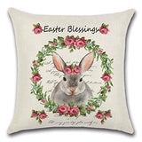 flowop Happy Easter Pillow Case, Rabbit Bunnies with Eggs Pillow Cover Linen Decorative Throw Pillowcase, Spring Season Farmhouse Cushion Cover for Sofa Couch 1 Piece