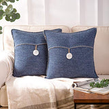 Phantoscope Pack of 2 Natural Shell Button Throw Pillow Covers Farmhouse Luxury Vintage Hand Embroidery White Thread Trimmed Decorative Navy Blue Pillows, 18 x 18 inches, 45 x 45 cm