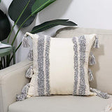 "Boho Throw Pillow Cover with Tassels, Tribal Beige Navy Lumbar Pillow 12""x20"" for Bed Sofa Couch Bedroom Living Room"
