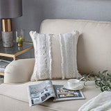 Two Queens Lane Decorative Throw Pillow Cover (1-Cover) 18x18 for Couch Sofa Bedroom Living Room, Woven Tufted Boho Pillows Cover, Cute Farmhouse Pillows Case, Cream Beige