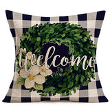 Doitely Winter Buffalo Check Plaid Olive Leaf Wreath Family Home Throw Pillow Cover 18 x 18 Inch Farmhouse Cotton Linen Cushion Case Decoration for Sofa Couch Xmas Gift