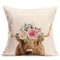 "Doitely Farm Markets Animals Throw Pillow Covers Milk Cow with Flowers Watercolor Style Farmhouse Home Decorative Pillow Covers 18""x18"" Cotton Linen Square Pillowcases"