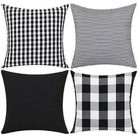Gysan Buffalo Check Plaid Throw Pillow Covers Christmas Decorative Square Pillow Covers Grey and White 4 Pack 18x18 Inches for Farmhouse Home Decor Couch Sofa Bed Car