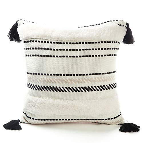 Tiffasea Black and White Lumbar Throw Pillow Covers Decorative Pillow Cases Accent Woven Cushion Cover Boho Farmhouse Neutral Cotton Decor for Couch Sofa Bed Living Room (20x20 inch, Small Tree)