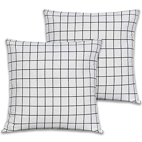 KEQIAOSUOCAI Farmhouse Checkers Plaids Throw Pillow Covers Cotton Linen Pillow Case - Black Line White Square Cushion Case for Sofa Bedroom Car 16 x 16 Inch 40 x 40 cm