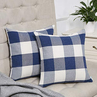 Anickal Set of 2 Green and White Buffalo Check Plaid Throw Pillow Covers Farmhouse Decorative Square Pillow Covers 20x20 Inches for Home Decor