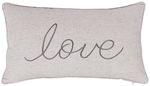 ADecor Pillow Covers Love Lumbar Pillow Cases Pillow Covers Embroidered Cushion Couple Wedding Anniversary P328 (12X20, Ivory)