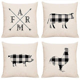 ArtSocket Set of 4 Linen Throw Pillow Covers Rustic Plaids Farmhouse Buffalo Check Farm Animals Decorative Pillow Cases Home Decor Square 18x18 inches Pillowcases