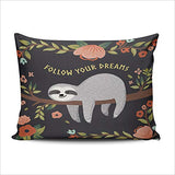 Hoooottle Home Decorative Follow Your Dreams Cute Baby Sloth on The Tree Cartoon Animal Pillowcase One Side Printed Throw Pillow Case Cushion Cover Boudoir 12x18 Inches