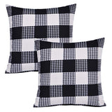 "7COLORRROOM Set of 2 Buffalo Plaid Checkers Pillow Covers Farmhouse Decorative Cushion Cover Beige Square Home Decorative Pillowcases 18""x18""(Beige)"