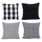 Hoplee Navy Blue Pillow Cover Cushion Cover with Buffalo Plaid, Solid Navy Blue, Striped and Gingham Plaid Design 18x18 inch,4 Pack