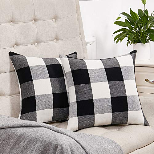 Anickal Set of 2 Beige and White Buffalo Check Plaid Throw Pillow Covers Farmhouse Decorative Square Pillow Covers 18x18 Inches for Farmhouse Home Decor